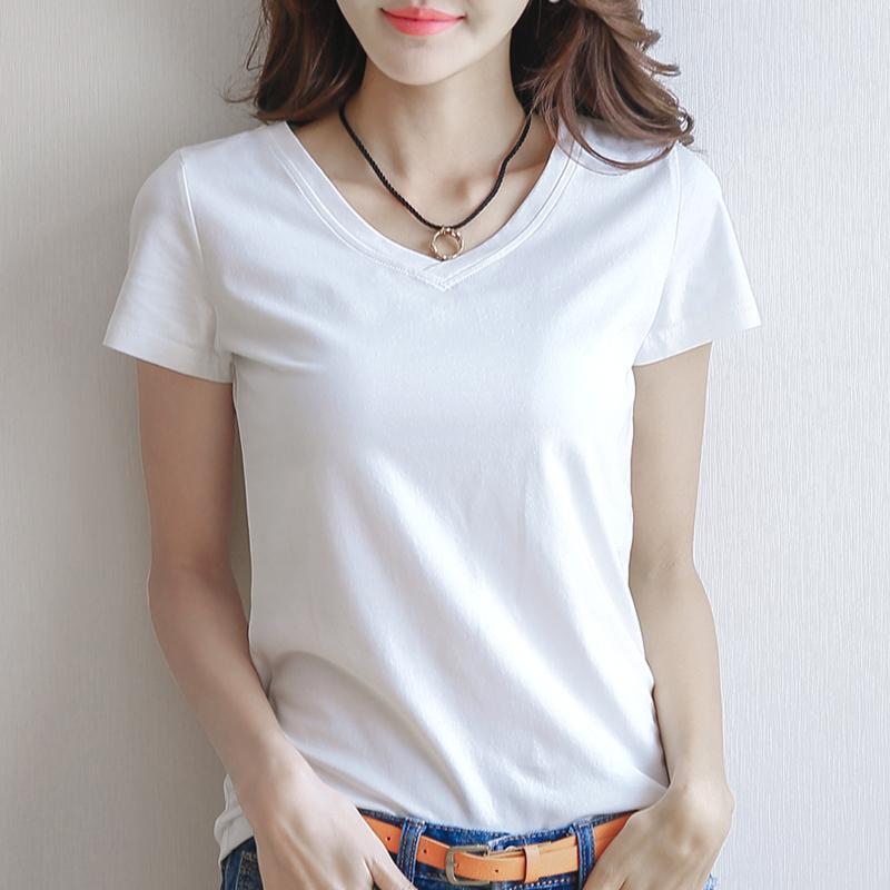 女士短袖t恤 韩版纯棉白色V领短袖T恤女夏季修身百搭打底衫简约纯色韩范体恤_推荐淘宝好看的女女短袖t恤