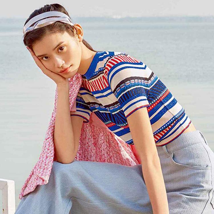 彩色条纹t恤 香港it代购欧洲站夏款16新款潮牌欧美风彩色条纹针织短袖T恤女款_推荐淘宝好看的女彩色条纹t恤