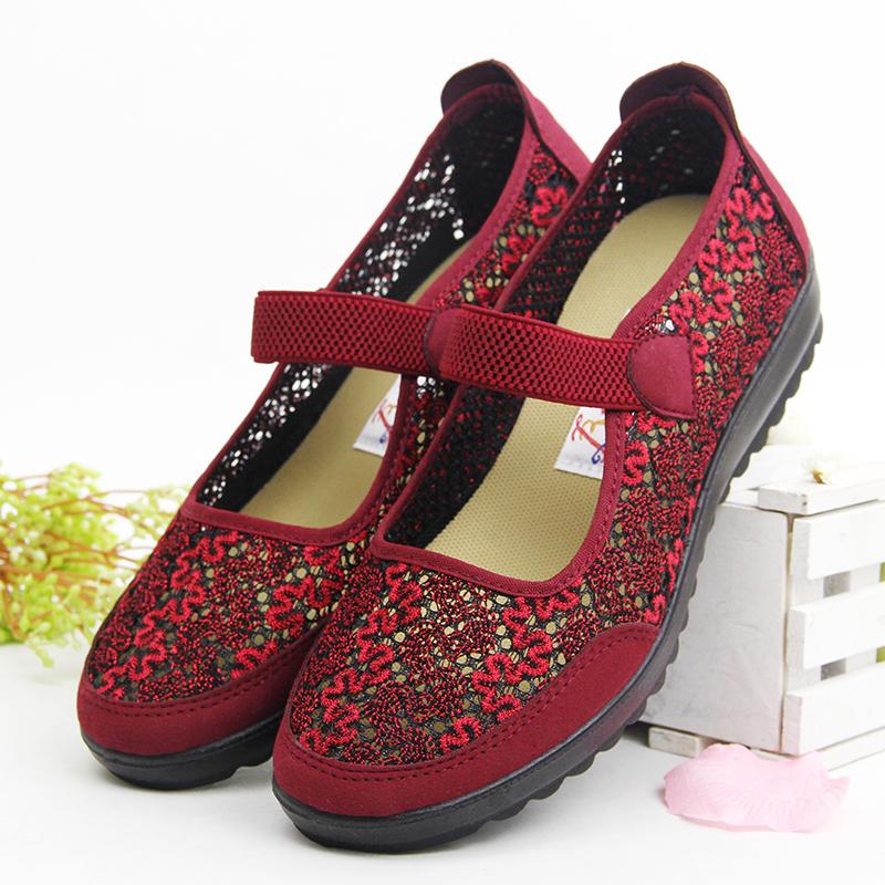 女凉鞋 凉鞋女 夏妈妈鞋透气网鞋中老年人镂空平跟鞋平底鞋奶奶北京布鞋_推荐淘宝好看的女凉鞋