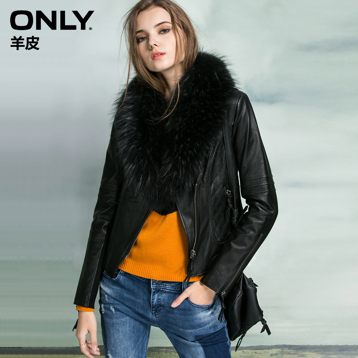 猪皮皮衣 ONLY猪皮修身夹棉皮衣夹克女T 115328004_推荐淘宝好看的猪皮皮衣女