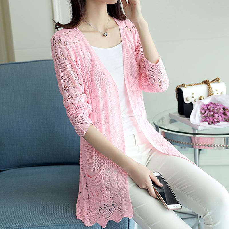 粉红色针织衫 锦茹薄款开衫夏季新款镂空披肩针织衫小外套空调衫防晒中长款女装_推荐淘宝好看的粉红色针织衫