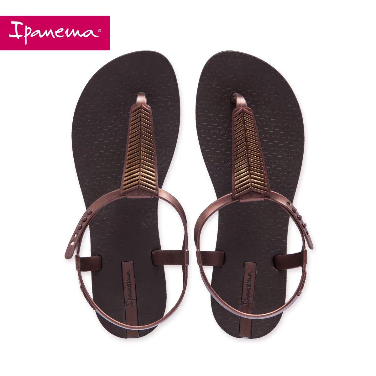 罗马凉鞋 Ipanema凉鞋女夏  平底罗马风人字拖  百搭棕色沙滩鞋_推荐淘宝好看的女罗马凉鞋