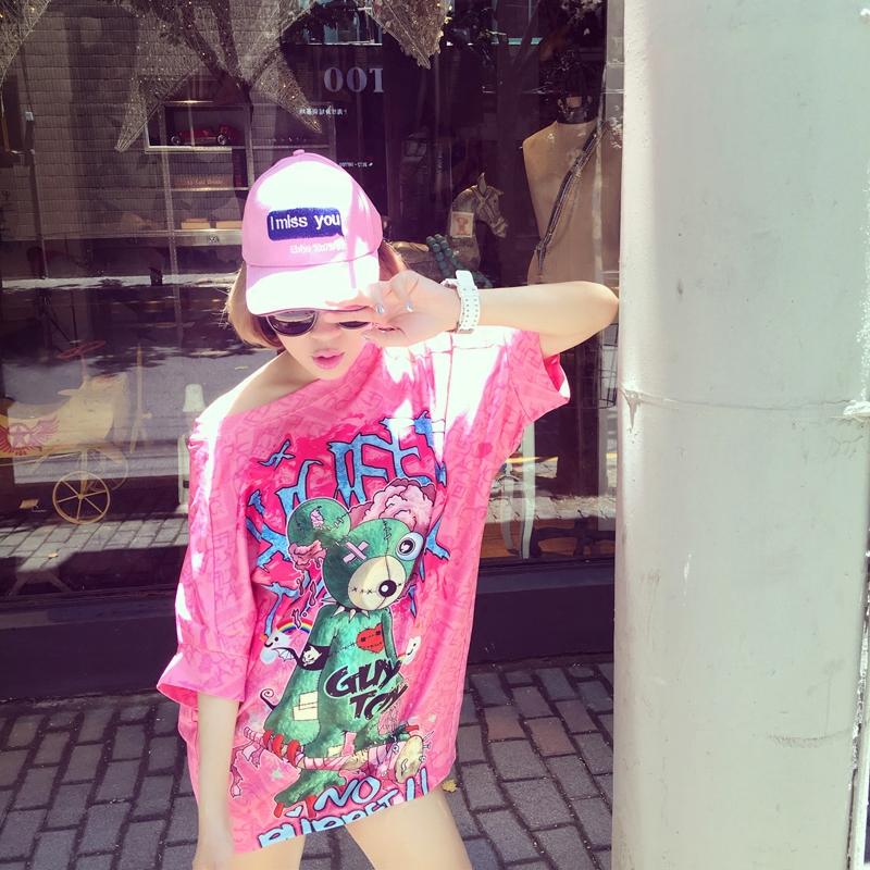 韩版短袖连衣裙 2016新款夏季女装韩版圆领短袖连衣裙粉色卡通宽松显瘦A字裙子_推荐淘宝好看的韩版短袖连衣裙