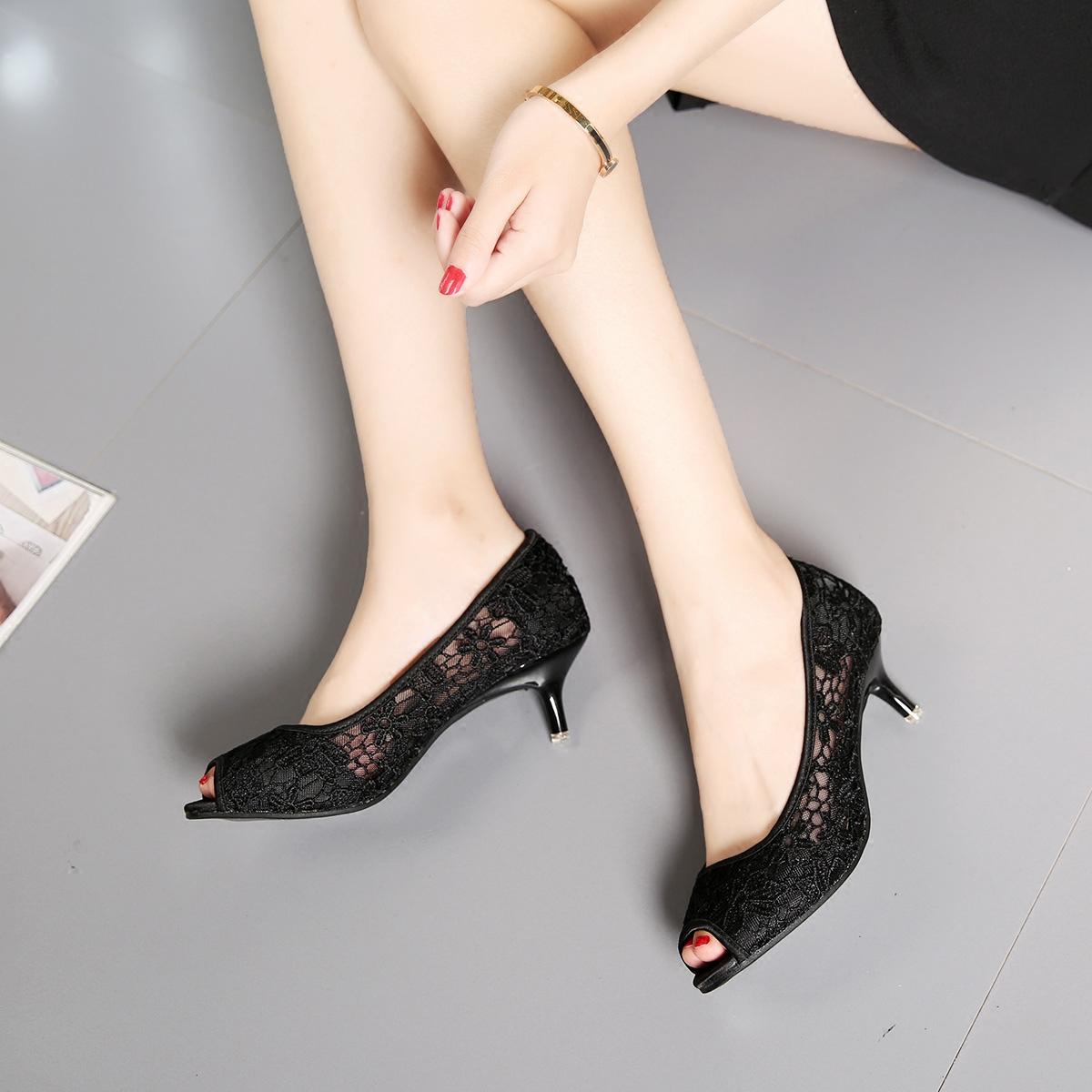 夏季高跟鞋 春夏季新款镂空网纱凉鞋蕾丝鱼嘴高跟鞋性感细跟圆头气质女鞋黑色_推荐淘宝好看的女夏季高跟鞋