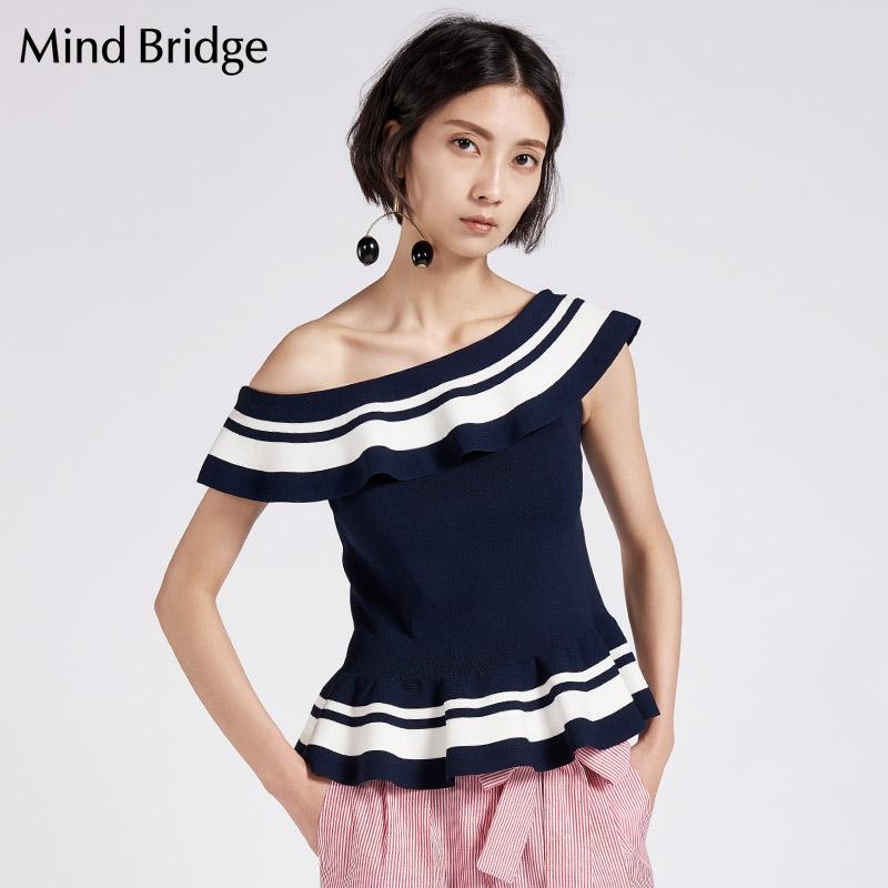 百家好女装 Mind Bridge女装 新款针织衫 2017夏 百家好 MRKT421A_推荐淘宝好看的百家好女