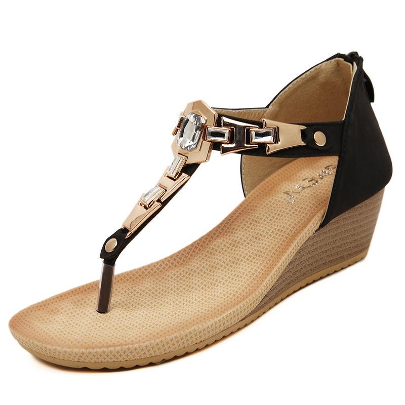 水钻罗马鞋 2016新款夏季韩版夹趾夹脚水钻金属后包罗马黑色坡跟人字女鞋凉鞋_推荐淘宝好看的水钻罗马鞋