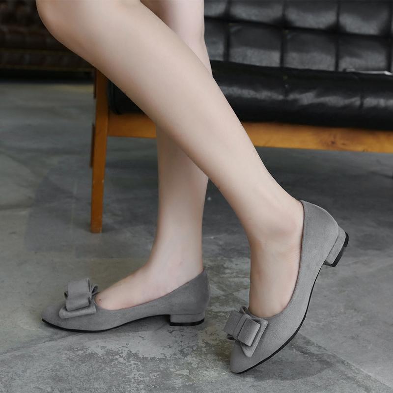 平底鞋 秋季女鞋秋鞋2016新款高跟低跟百搭平底鞋单鞋女中跟伴娘鞋工作鞋_推荐淘宝好看的女平底鞋