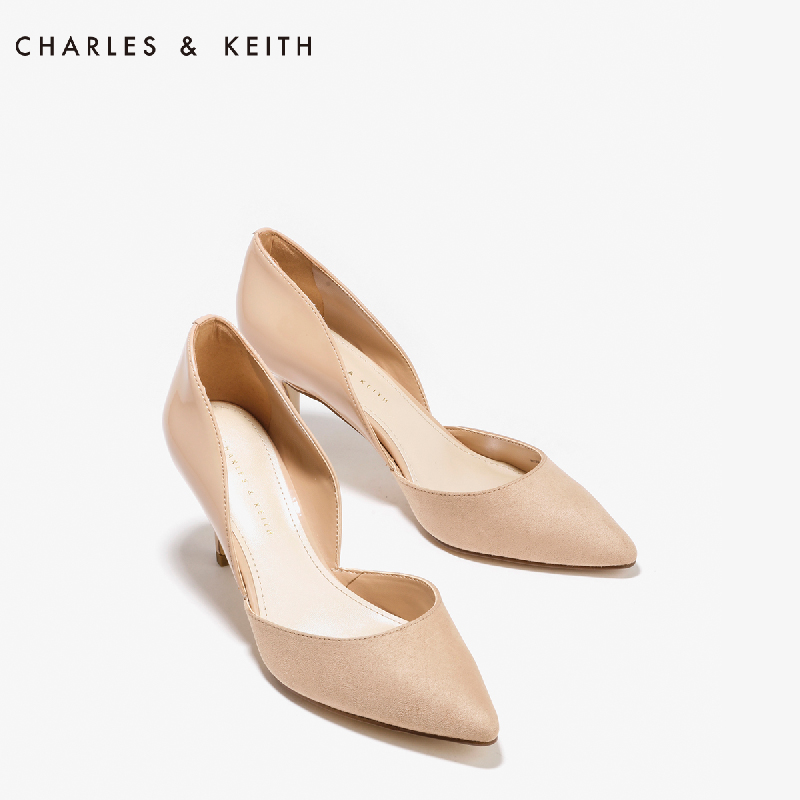 尖头高跟单鞋 CHARLES&KEITH高跟鞋CK1-60360888尖头女单鞋漆皮绒面优雅奥赛鞋_推荐淘宝好看的女尖头高跟单鞋