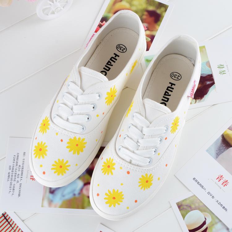 黄色帆布鞋 春夏季新款 日系小清新黄色雏菊女闺蜜百搭小白鞋单鞋手绘帆布鞋_推荐淘宝好看的黄色帆布鞋
