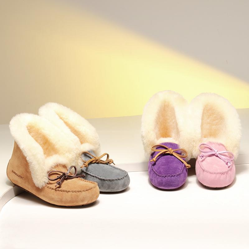 紫色豆豆鞋 柯玛妮克2016冬款系带紫色豆豆鞋女雪地靴真皮平底保暖船鞋孕妇鞋_推荐淘宝好看的紫色豆豆鞋