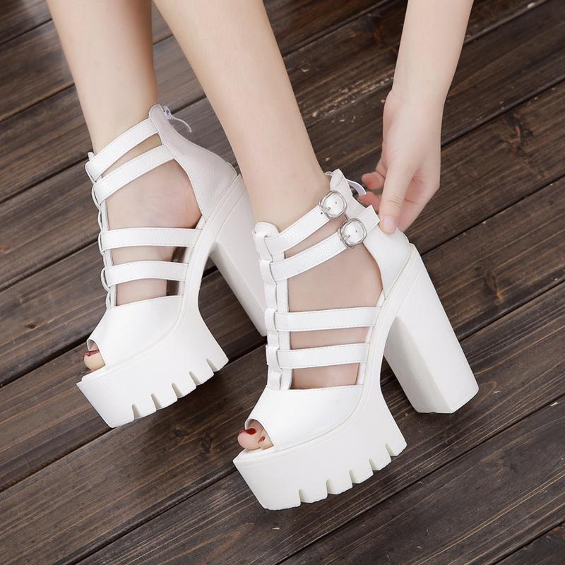 白色罗马鞋 真皮女鞋罗马镂空高跟凉鞋 白色学生鞋春夏超高跟防水台演出女鞋_推荐淘宝好看的白色罗马鞋