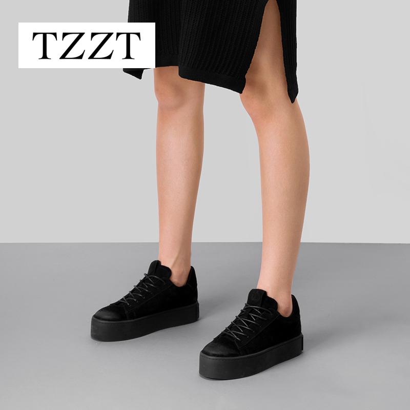 松糕鞋 TZZT2016欧美春秋新款磨砂皮厚底小黑鞋女松糕底系带平底休闲单鞋_推荐淘宝好看的女松糕鞋