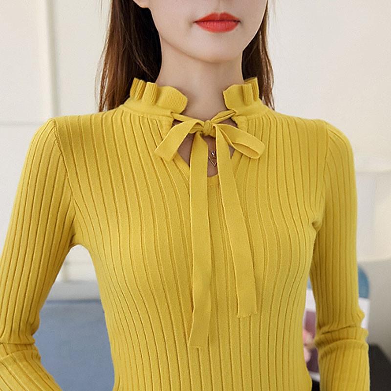 黄色针织衫 天天特价秋季针织衫女套头长袖打底衫上衣系带蝴蝶结半高领毛衣女_推荐淘宝好看的黄色针织衫