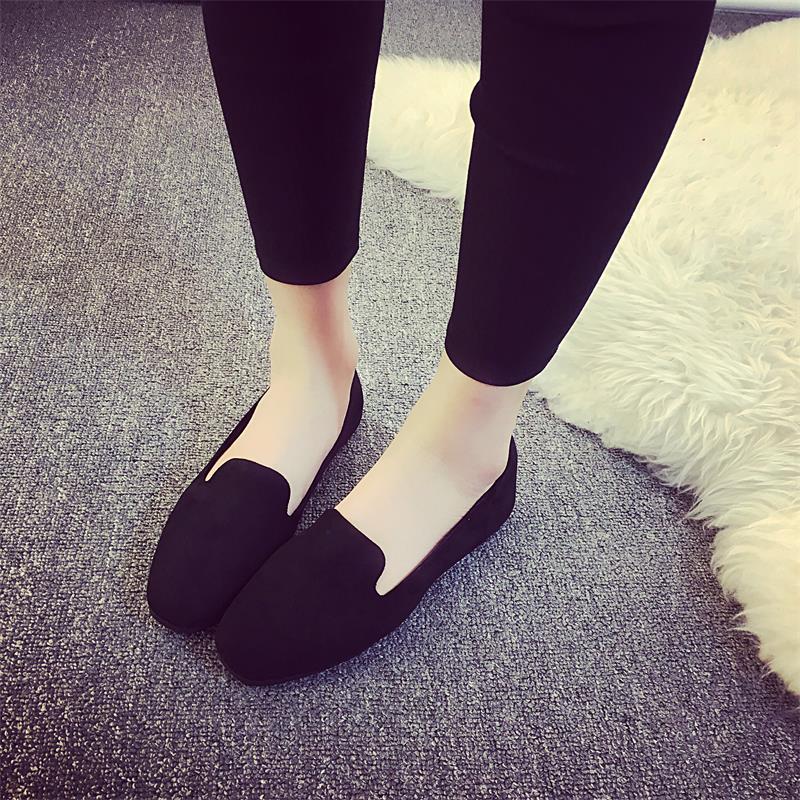 黑色单鞋 单鞋女平底2017夏季新款潮百搭黑色绒面舒适方头浅口工作休闲鞋女_推荐淘宝好看的黑色单鞋