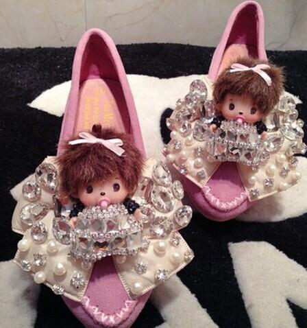 粉红色豆豆鞋 原创甜美蝴蝶结豆豆鞋内增高尖头平跟厚底鞋公主纯色粉红色玫红色_推荐淘宝好看的粉红色豆豆鞋