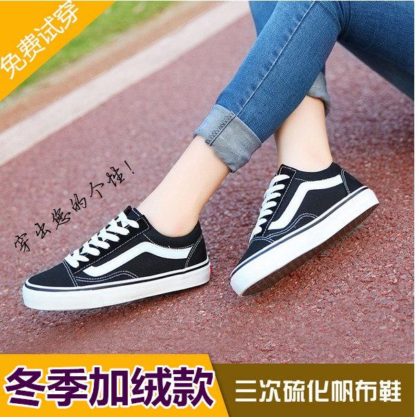 黑色帆布鞋 冬季韩版加绒帆布鞋女黑白情侣款低帮学生保暖休闲滑板鞋单鞋棉鞋_推荐淘宝好看的黑色帆布鞋
