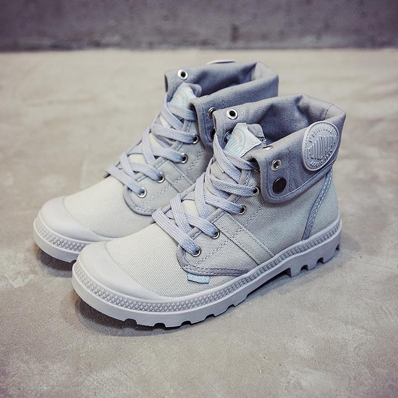 白色高帮鞋 品牌高帮帆布鞋女白色法国风时尚潮鞋户外登山鞋工装鞋学生鞋_推荐淘宝好看的白色高帮鞋