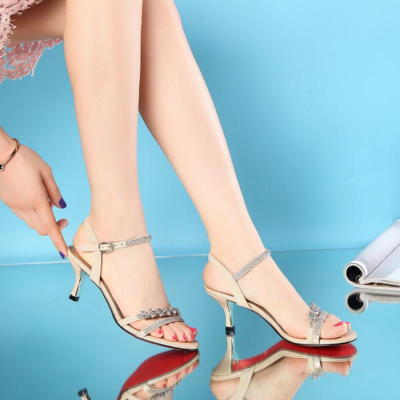 水钻凉鞋 百丽 高特新款凉鞋2017春夏性感水钻中细跟露趾矮跟时尚真皮女鞋_推荐淘宝好看的女水钻凉鞋