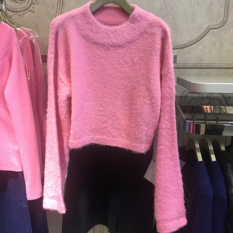 欧时力女装 露西欧时力娜2017冬新品高腰短款喇叭袖套头小高领毛衣1HH4038500_推荐淘宝好看的欧时力
