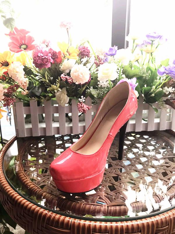 单鞋 出口欧洲——2017红色亮皮西瓜红恨天高时尚女单鞋F715-L049_推荐淘宝好看的女单鞋