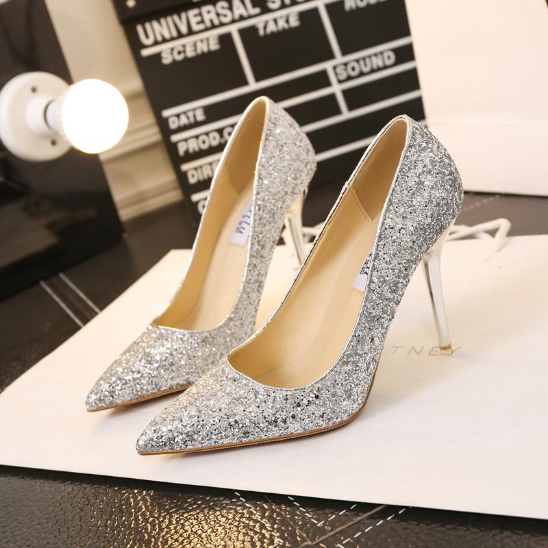 单鞋 千颂伊同款水晶鞋金色婚鞋新娘小码银色高跟鞋细跟尖头亮片单鞋女_推荐淘宝好看的女单鞋