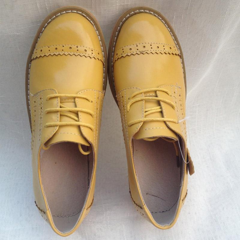 黄色坡跟鞋 厚底鞋 欧美潮流松糕鞋 明星款 黄色真皮坡跟单鞋 复古厚底松糕鞋_推荐淘宝好看的黄色坡跟鞋