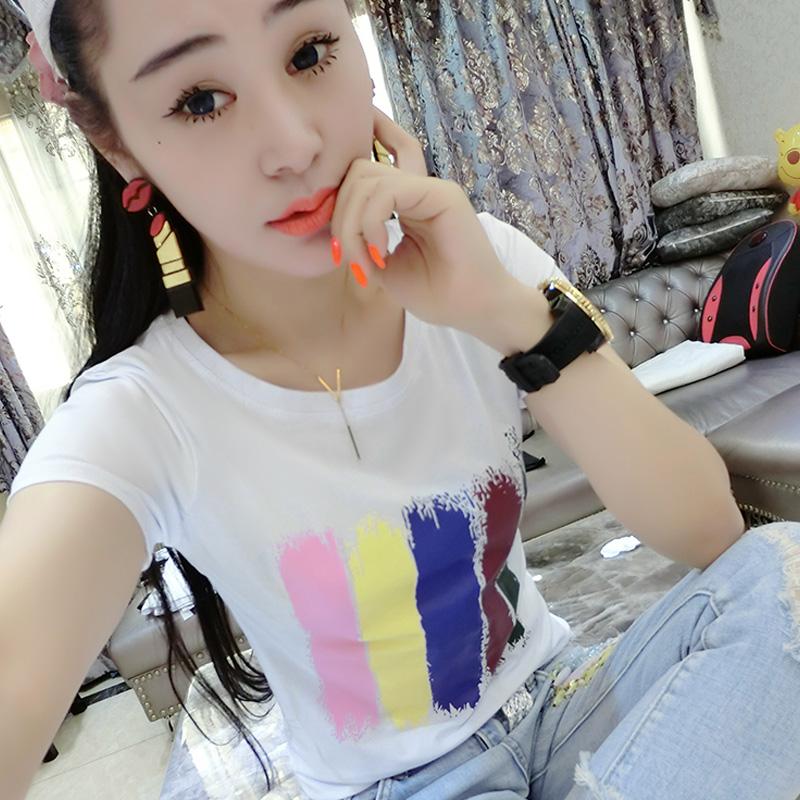 女短袖t恤 2016夏新款韩版纯棉个性印花短袖T恤女修身圆领半袖白色体恤女潮_推荐淘宝好看的女短袖t恤