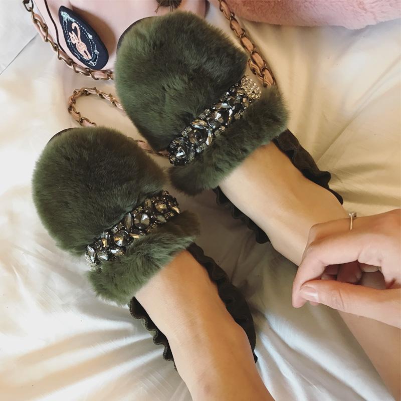 绿色豆豆鞋 韩版水钻毛毛鞋女秋冬季加绒棉瓢鞋女平底豆豆鞋一脚蹬懒人鞋绿色_推荐淘宝好看的绿色豆豆鞋