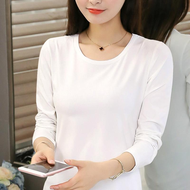 粉红色T恤 韩版纯白色长袖圆领t恤女修身打底衫 莫代尔秋衣上衣大码体恤外穿_推荐淘宝好看的粉红色T恤