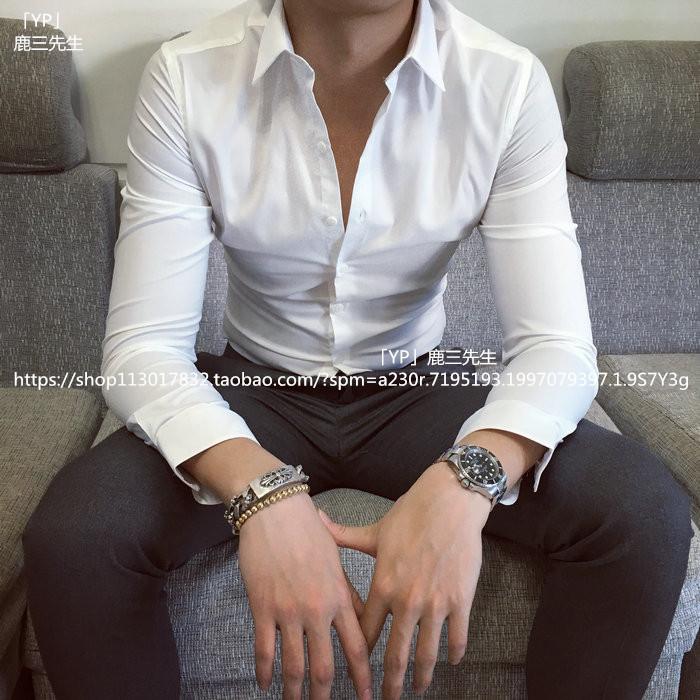 黑色衬衫 男士薄款长袖白衬衫商务英伦修身纯色衬衣韩版男装休闲青年寸衫男_推荐淘宝好看的黑色衬衫