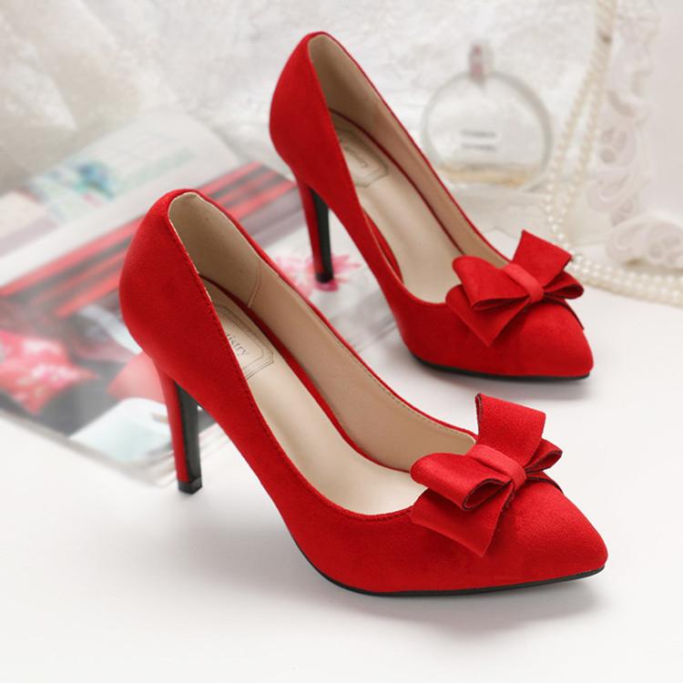 红色尖头鞋 秋冬结婚新娘婚鞋女32 33单鞋大码女鞋40-43红色尖头高跟鞋细跟_推荐淘宝好看的红色尖头鞋