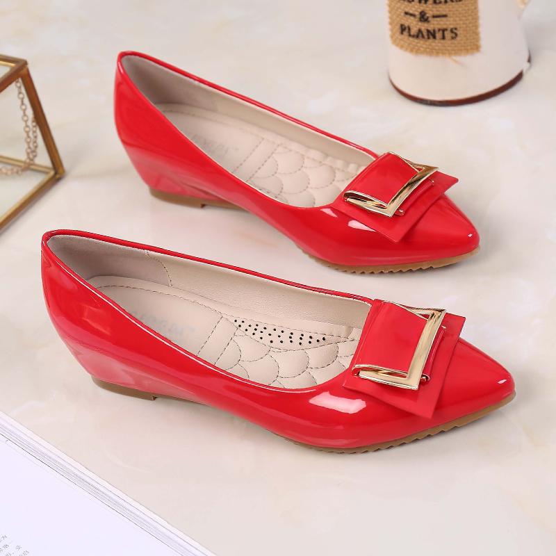 红色豆豆鞋 红色瓢鞋内增高女鞋坡跟韩版春秋浅口豆豆鞋中跟小码31 32 33 34_推荐淘宝好看的红色豆豆鞋