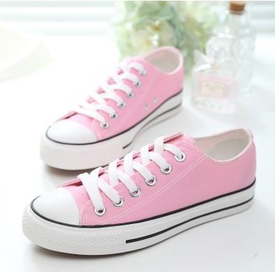 粉红色平底鞋 包邮经典粉色帆布鞋韩版潮低帮平底粉红色布鞋子休闲鞋学生女板鞋_推荐淘宝好看的粉红色平底鞋