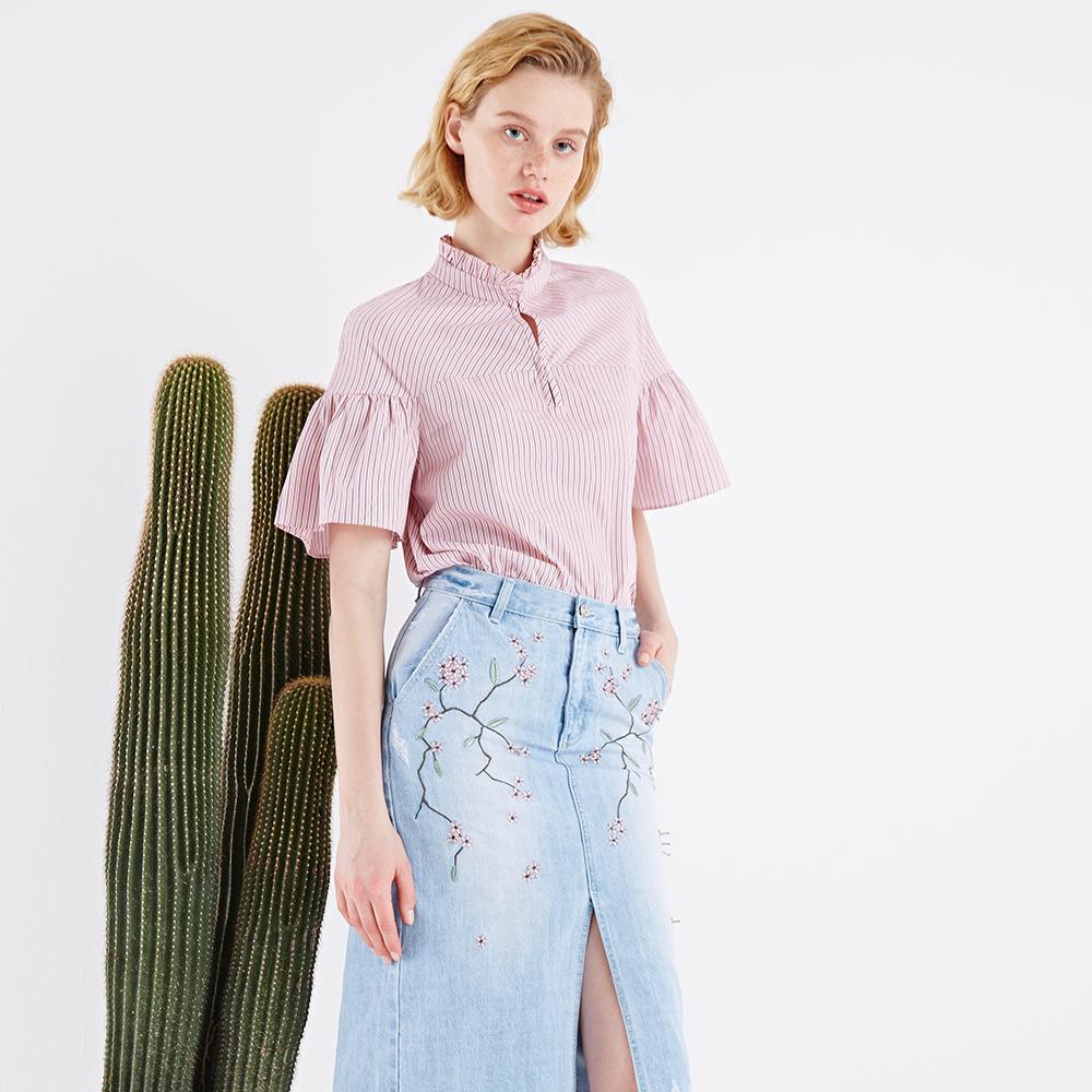 法式衬衫 奥芝国 法式风 甜美撞色条纹 花边领荷叶袖衬衣 套头娃娃衫衬衫女_推荐淘宝好看的女法 衬衫