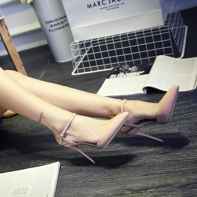 高跟凉鞋 2016春夏尖头高跟鞋凉鞋粉色婚鞋细跟凉鞋中跟侧空女鞋10cm单鞋OL_推荐淘宝好看的女高跟凉鞋