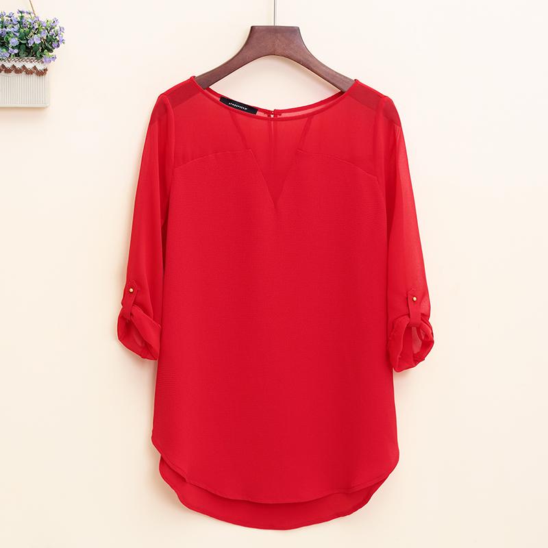 红色雪纺衫 气质大红色上衣女装秋新款2016夏季大码宽松中袖雪纺衫中长款胖mm_推荐淘宝好看的红色雪纺衫