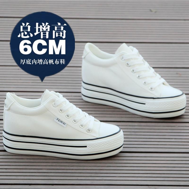白色松糕鞋 2016新款春季潮布鞋学生白色松糕厚底黑色帆布鞋女韩版内增高6CM_推荐淘宝好看的白色松糕鞋