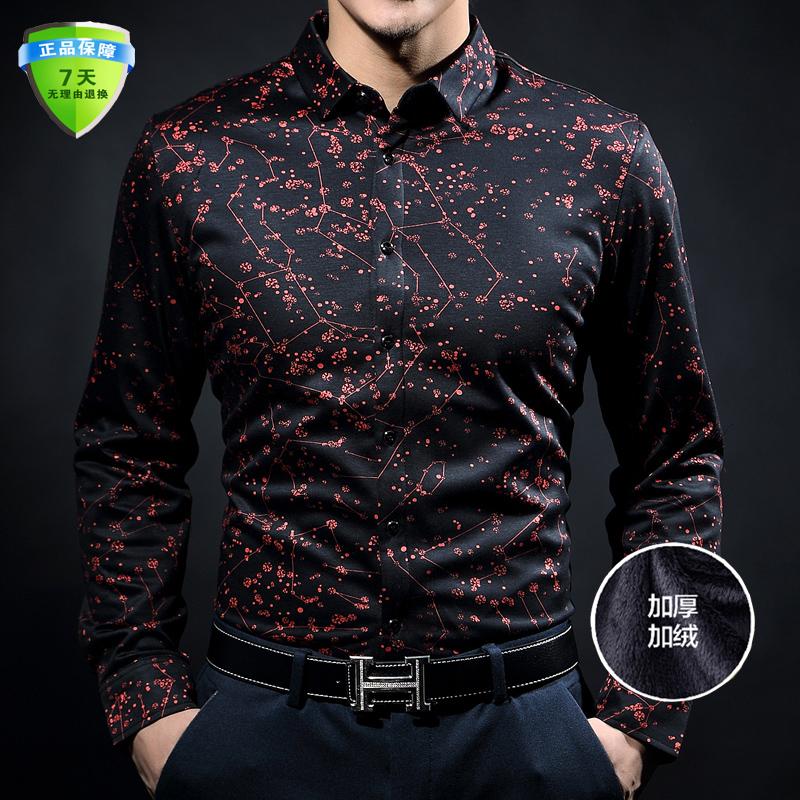 红色衬衫 秋冬季男士真丝长袖花衬衫男中年金丝绒保暖衬衣加绒加厚黑色衬衣_推荐淘宝好看的红色衬衫