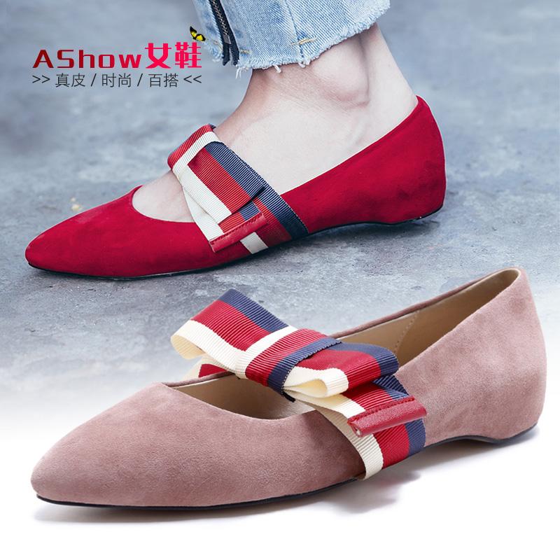 粉红色尖头鞋 真皮蝴蝶结单鞋女夏尖头浅口平底鞋粉红色秋鞋百搭鞋子潮低跟女鞋_推荐淘宝好看的粉红色尖头鞋