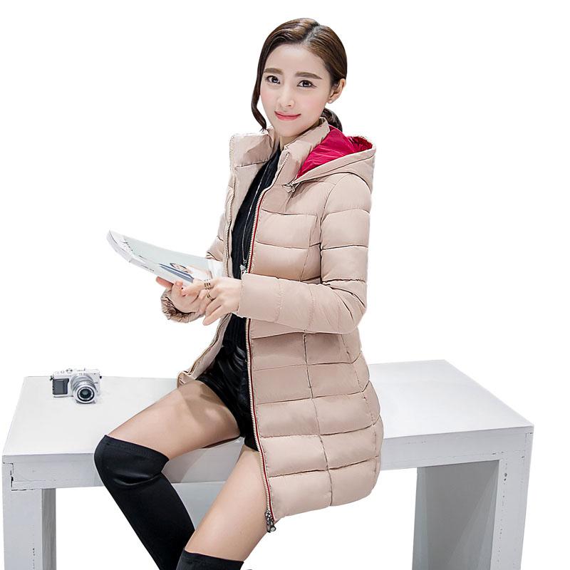 粉红色羽绒服 2016新款棉衣冬季外套棉袄韩国版修身大码羽绒棉服女中长款加厚_推荐淘宝好看的粉红色羽绒服
