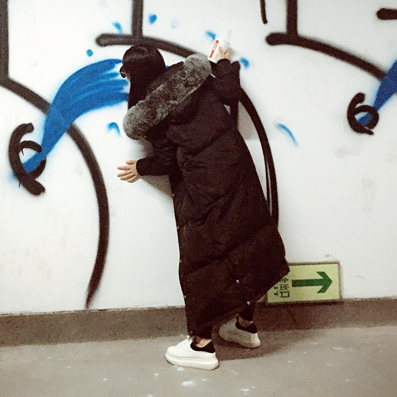 白色羽绒服 2016新款韩国大码羽绒服女士 长款过膝超大毛领外套冬加厚加长潮_推荐淘宝好看的白色羽绒服