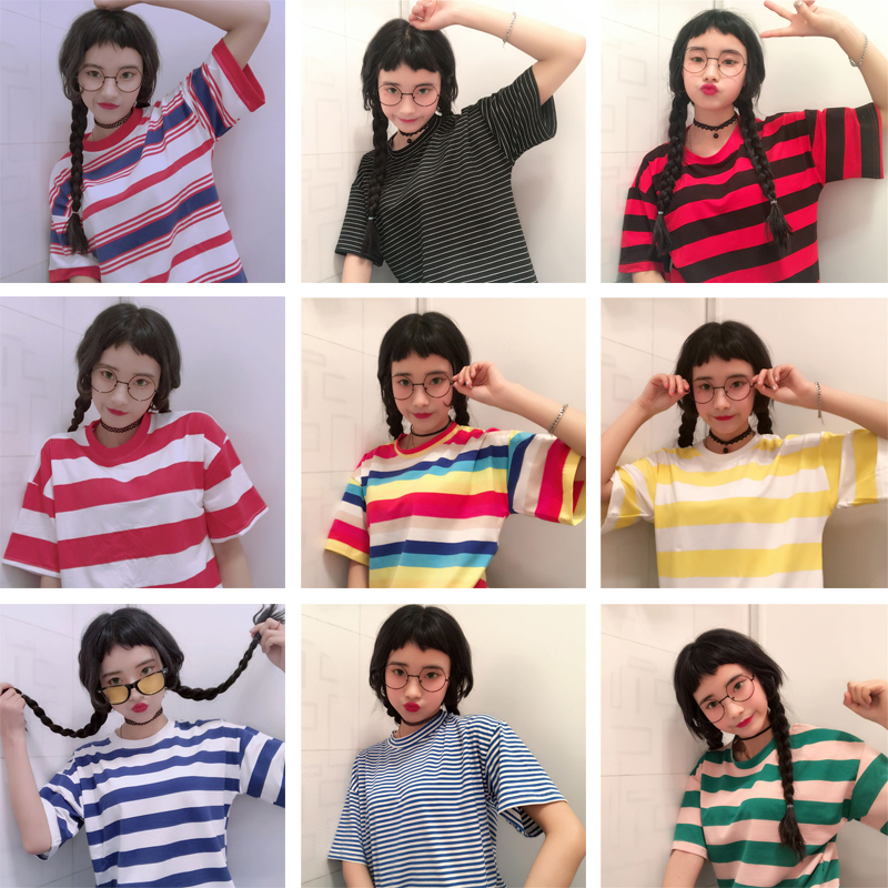 条纹t恤搭配 韩版甜美少女条纹圆领T恤宽松显瘦夏季新款拼色学生短袖上衣女潮_推荐淘宝好看的女条纹t恤