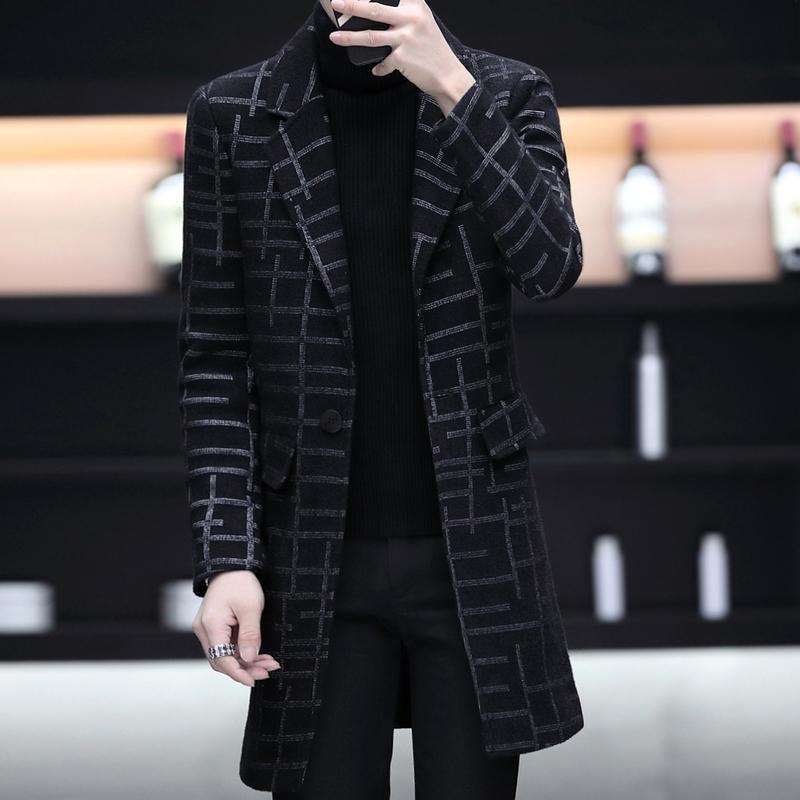 男士风衣 男士格子大衣冬季中长款男呢子外套青年修身韩版潮流学生妮子风衣_推荐淘宝好看的男风衣