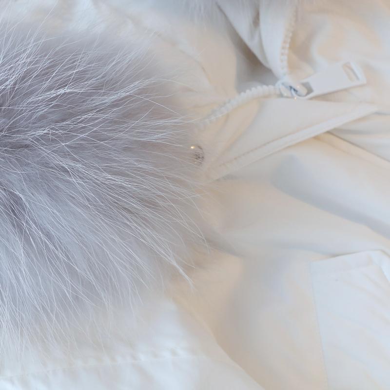 白色羽绒服 林珊珊 冬季新款韩国大毛领白色羽绒服女中长款加厚收腰连帽外套_推荐淘宝好看的白色羽绒服