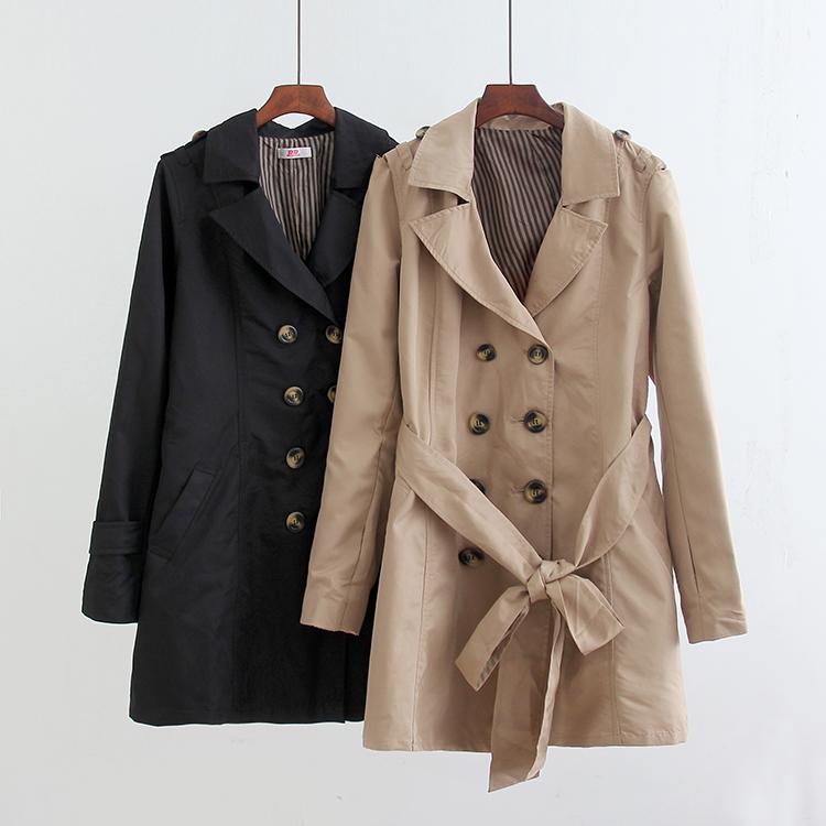 黑色风衣 2017秋季新款简约经典风纯色外套气质款风衣修身显瘦款女款_推荐淘宝好看的黑色风衣