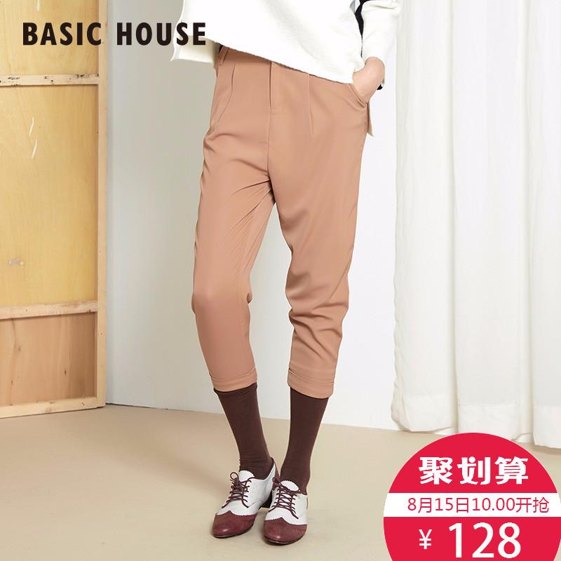 百家好女装 Basic House百家好舒适休闲下装时尚百搭直筒女裤HOPT521F_推荐淘宝好看的百家好女
