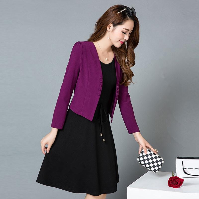 紫色连衣裙 天天特价连衣裙春新款女装韩版修身婚宴礼服九分袖两件套时尚套装_推荐淘宝好看的紫色连衣裙