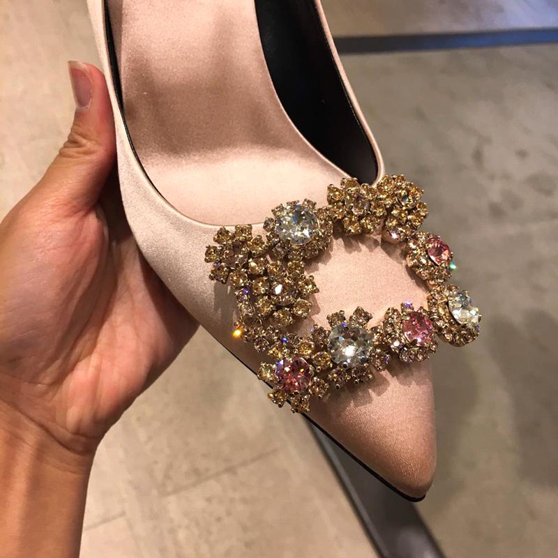 细高跟鞋 新娘鞋红色婚鞋女细跟尖头高跟鞋女银色水钻走秀宴会婚纱鞋单鞋女_推荐淘宝好看的女细高跟鞋