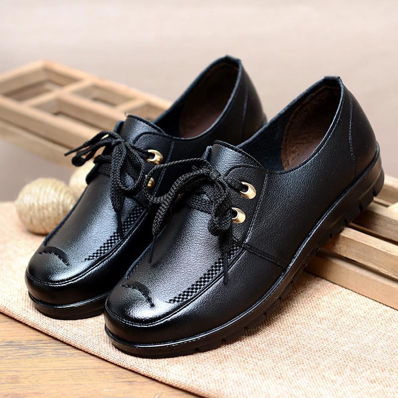 平底鞋 妈妈鞋单鞋舒适软底中老年女鞋平跟中年女士皮鞋休闲平底老人鞋女_推荐淘宝好看的女平底鞋