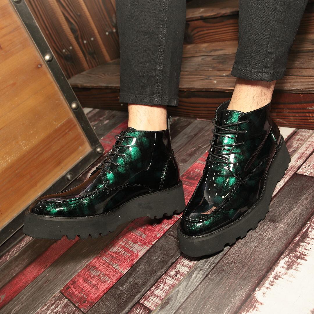 绿色高帮鞋 欧美厚底走秀潮鞋绿色男鞋迷彩高帮鞋休闲皮鞋细带圆头松糕鞋5cm_推荐淘宝好看的绿色高帮鞋